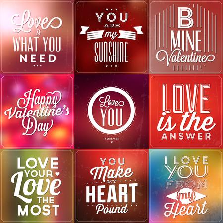 Conjunto de carteles tipográficos / citas de amor / fondos coloridos con elementos caligráficos Ilustración de vector