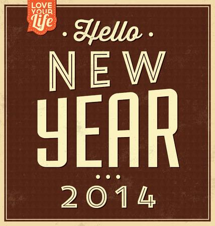 Contexto typographique vintage de nouvelle année / design rétro
