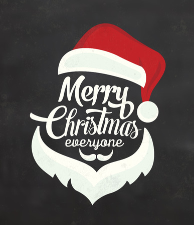 Christmas Typographic Background / Merry Christmas / Santa Illustration
