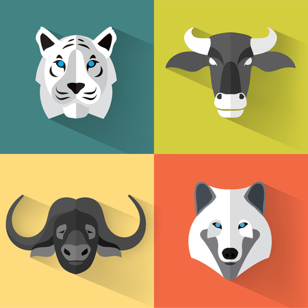 isolated animal: Animal Portrait Set with Flat Design  Vector Illustration