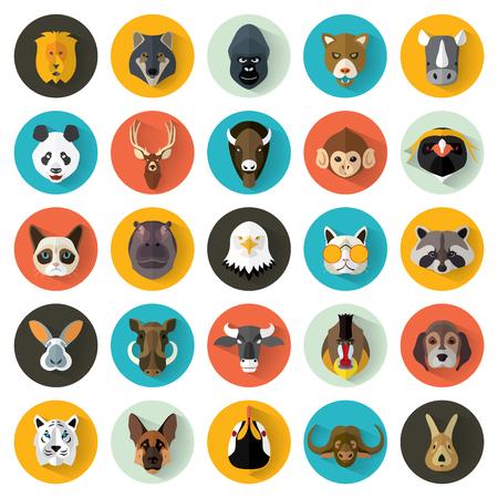 動物の肖像画をフラットなデザインと設定ベクトル イラスト/