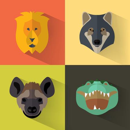 background color: Animal Portrait Set with Flat Design  Vector Illustration