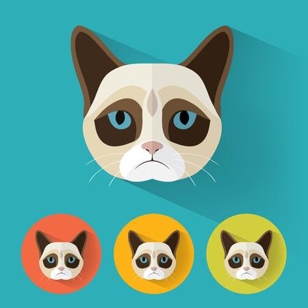 grumpy: Animal Portrait with Flat Design  Grumpy Cat  Vector Illustration