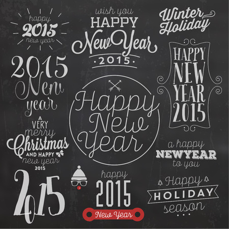 new years eve party: Collection Of Vintage New Year Typographic Backgrounds Illustration