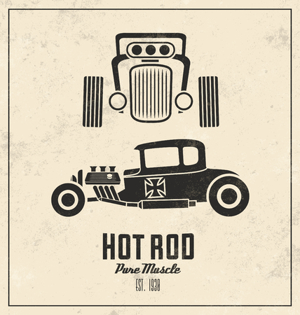 Retro Hot Rod Poster  Vintage Design  Pure Muscle
