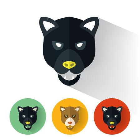 animales safari: Retrato animal con ilustración de diseño plano  Panther  vector