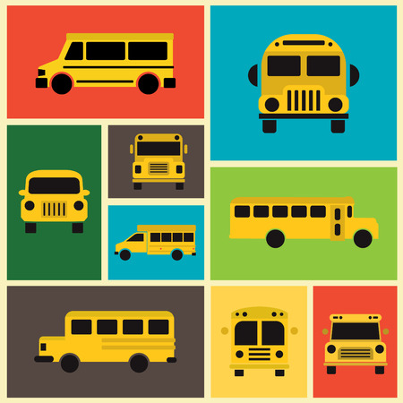 school icons: School Bus Collection  Colorful Background  Flat Design Illustration