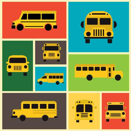 cartoon school: School Bus Collection  Colorful Background  Flat Design Illustration