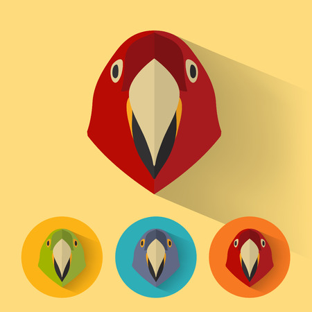 Animal Portrait with Flat Design / Parrot / Vector Illustration Иллюстрация