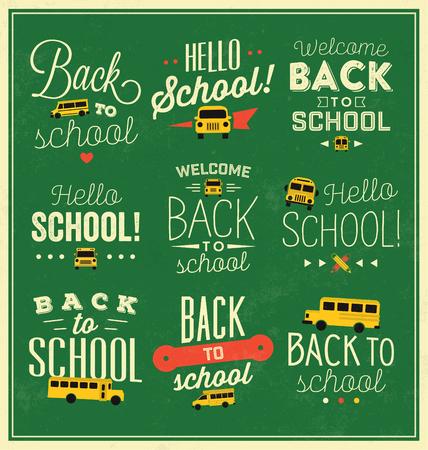 chalk board: Back to School Calligraphic Designs  Vector Elements Illustration