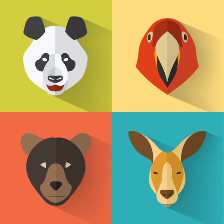 giant: Animal Portrait Set with Flat Design  Vector Illustration