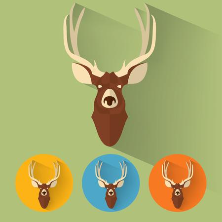 deer hunter: Animal Portrait with Flat Design  Deer  Vector Illustration