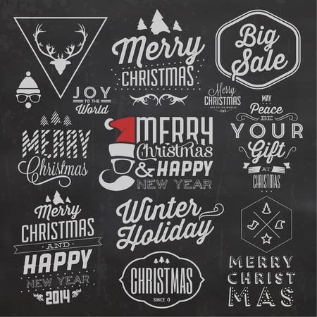 Christmas Typographic Background Set  Merry Christmas And Happy New Year