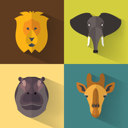 elephant icon: Animal Portrait Set with Flat Design  Vector Illustration