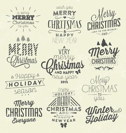 クリスマス文字体裁の背景セットメリー クリスマスと新年あけましておめでとうございます  イラスト・ベクター素材