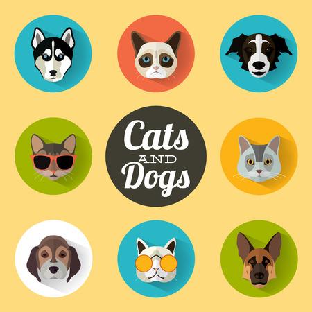 koty: Portret zwierząt Zestaw z płaska  koty i psy Ilustracja  wektor