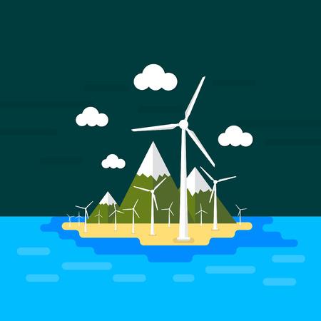 generators: Vector island illustration with wind generators  Minimal flat style Illustration