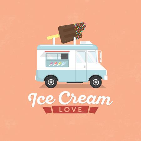 アイス クリーム トラック フラットイラスト