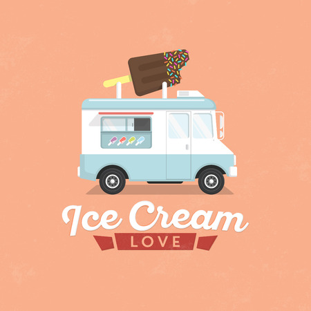 Ice Cream Truck  Flat Design Illustration