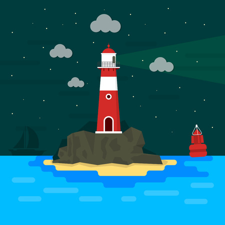 light house: Light house on rocks at night  Flat design  Minimal island