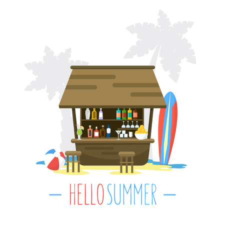 beach bar: Beach Bar Bungalow  Flat Style Vector Illustration  Summer Holiday