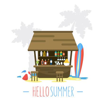 Ilustración Beach Bar Bungalow / piso del vector del estilo / de vacaciones de verano Ilustración de vector