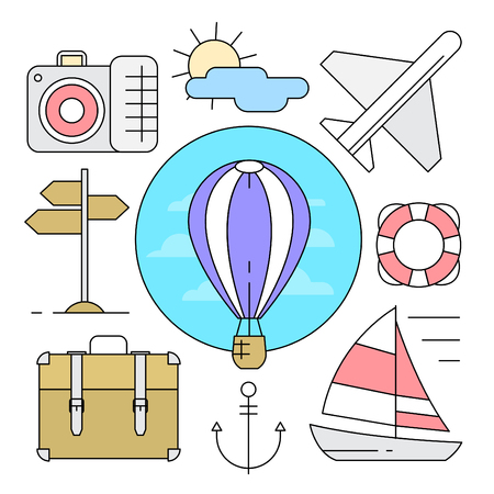 Linear Style Summer Travel Vector Elements