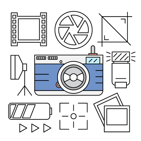 camera film: Linear Camera and Photography Icons