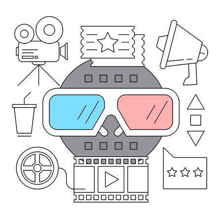 Set of Cinema Outline Icons Illustration
