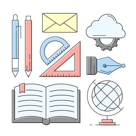 선형 스타일 아이콘. 교육 및 학습 요소. 화려한 배경