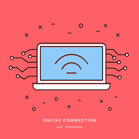 Internet  Thin Line Banner With Simple Laptop Illustration