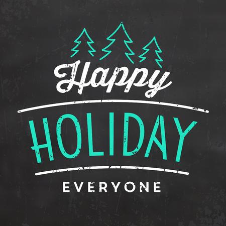 Typographic Christmas Design / Happy Holiday Everyone  イラスト・ベクター素材