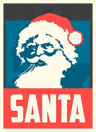 Poster with Santa Pop Art Portrait