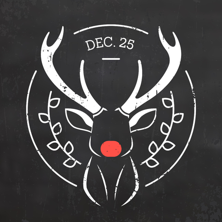 Typographic Christmas Design for Christmas  with Reindeer Illustration