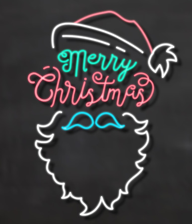 Typographic Christmas Background with Santa in Neon Style