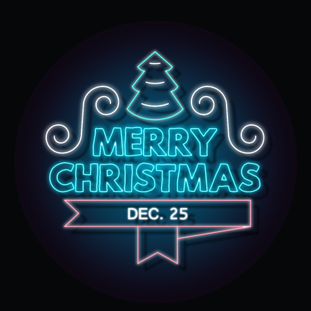 Typographic Christmas Design of Merry Christmas in Neon Style