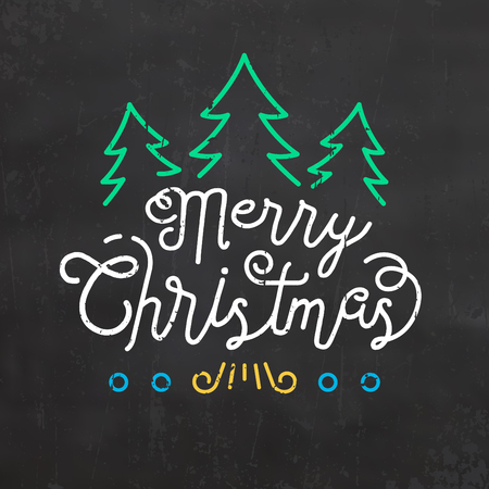 Typographic Christmas Design of Merry Christmas with Christmas trees Illustration