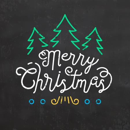 Typographic Christmas Design of Merry Christmas with Christmas trees Иллюстрация