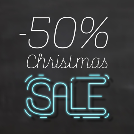 50% Christmas Sale Sign in Neon Style