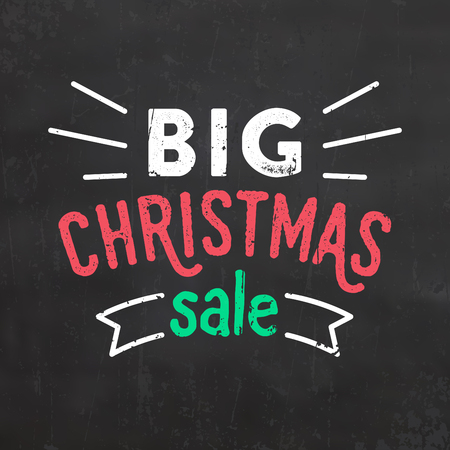 Christmas Big Sale Sign in Grunge Style Illustration