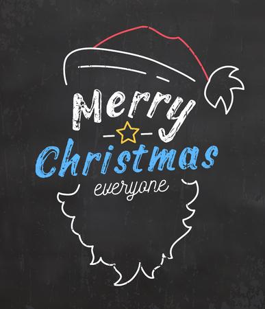 Typographic Christmas Background with Santa Illustration