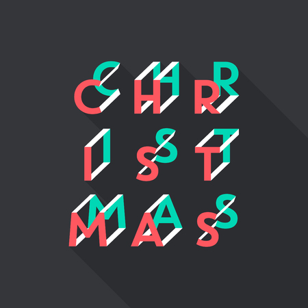 Abstract typographic Christmas card, vector illustration.