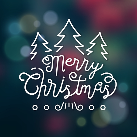 Typographic Christmas Design  Merry Christmas vector illustration.