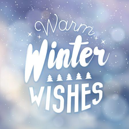 Typographic Christmas Design / Warm Winter Wishes vector illustration.