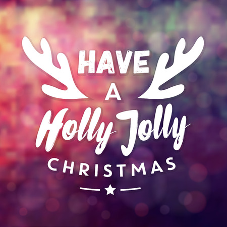 Typographic Christmas Design / Have a Holly Jolly Christmas vector illustration. Иллюстрация