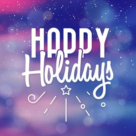 Typographic Christmas Design / Happy Holidays vector illustration.