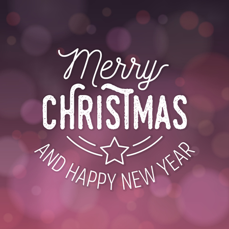 Typographic Christmas Design / Merry Christmas and Happy New Year vector illustration.