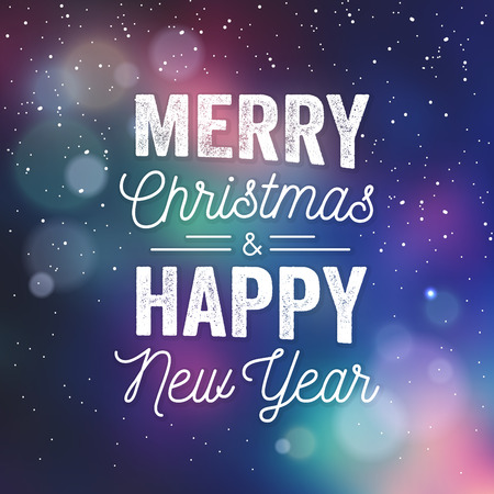 Typographic Christmas Design  Merry Christmas and Happy New Year vector illustration.