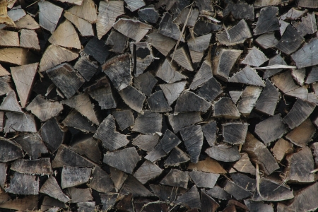 End View of Cut Firewood Stock Photo