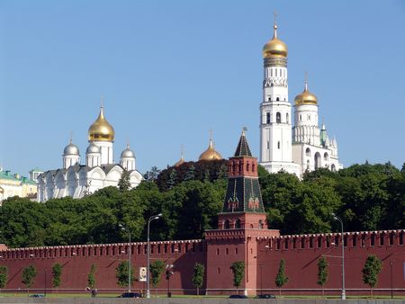 the quay: Kremlin quay, Moscow Kremlin, tower, Kremlin, Moscow, Russia Stock Photo